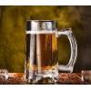 超厚底无铅玻璃啤酒杯创意果汁饮料杯 耐热带把扎杯定制LOGO